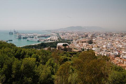 Malaga depuis les remparts de Castillo de Gibralfaro