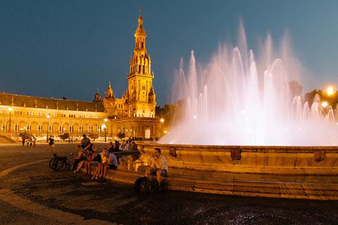 La Plaza de España de nuit