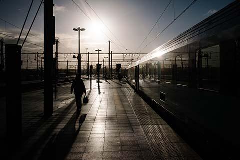 Contre jour en gare