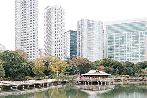 Maison de thé dans le parc Hama-rikyu Onshi-teien