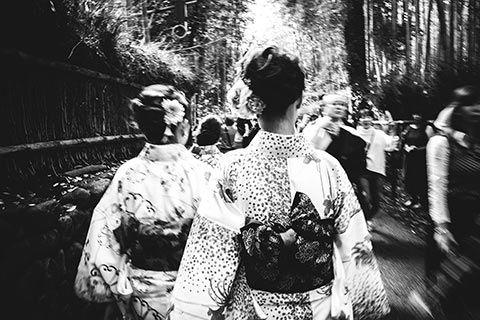 Dans la bambouserai d'Arashiyama