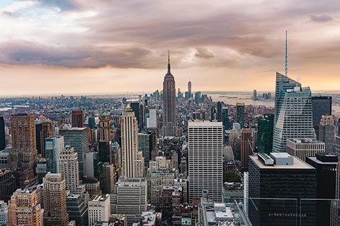 L'Empire State Building depuis le poitn de vue en haut du Top of the Rock