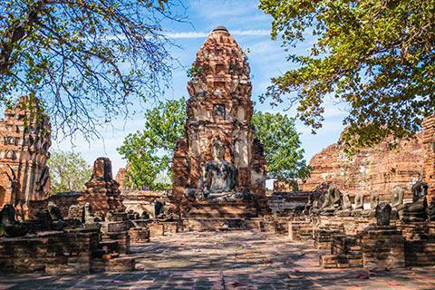 Le temple Wat Mahathat à Ayutthaya