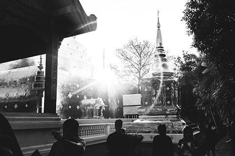 Coucher de soleil sur le Wat Phra Singh