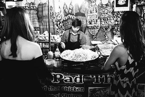 Stand de Pad Thaï dans Khao San Road